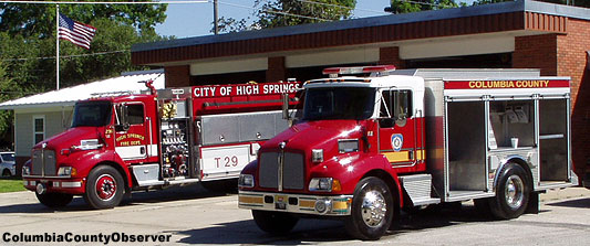 Fire trucks in front of High Springs Fire Department