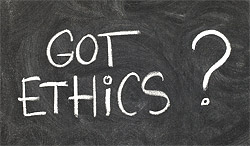 Got ethics? Written on black board.