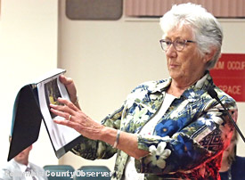 Beth Fewell points to the plan showing her proximity to the RV's in the proposed RV Park.