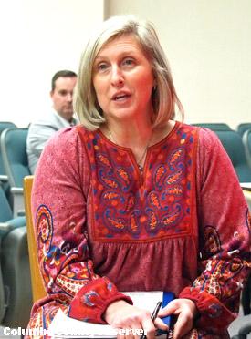 Elizabeth Hubbart testifies at the hearing.