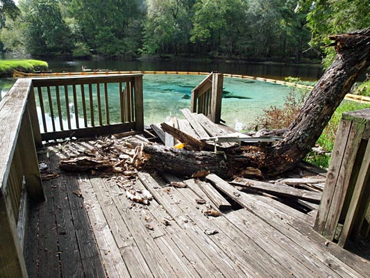 The last wooden dock was recently obliterated when a tree fell through it.