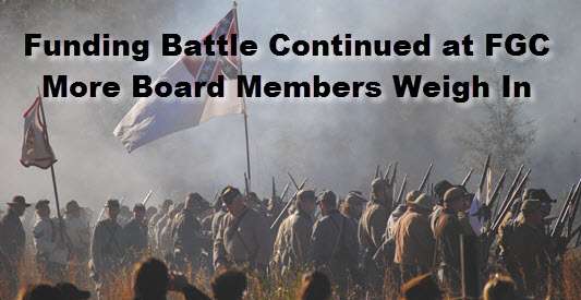 Confederate soldiers with headline: Funding Battle Continued at FGC